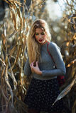 Blonde junge Frau in einer tragenden Strickjacke und einem Rock des Getreidefelds Lizenzfreie Stockbilder