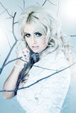 Blonde junge Frau gekleidet als Winter queend Lizenzfreie Stockbilder
