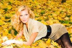 Blonde junge Frau im Herbstwald Stockfotos