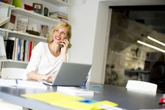 Blonde kaukasische Geschäftsfrau Stockbild