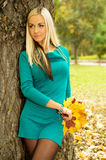 Blonde keep the leaves to lean on a tree Royalty Free Stock Image
