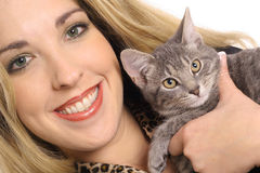 Blonde with kitten angle Royalty Free Stock Image