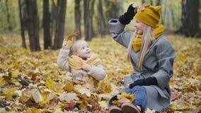 Blonde kleine Tochter mit ihrer Mama geht in Herbstpark - haben Sie lustiges und sammeln Sie Blätter Stockfotos