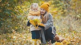 Blonde kleine Tochter mit ihrer Mama geht in Herbstpark - haben Sie lustiges und sammeln Sie Blätter, Abschluss oben Stockbild