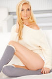 Blonde with a Knee High Socks Royalty Free Stock Photo