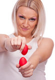 Blonde knocking Easter eggs Royalty Free Stock Images
