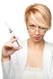 Blonde Krankenschwester mit einer Spritze Lizenzfreies Stockbild