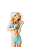 Blonde lady in bikini having an ice Stock Photo