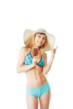 Blonde lady in bikini having an ice Stock Images