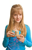 Blonde lady and a cup of tea. Young blonde lady and a cup of tea in her hand Royalty Free Stock Photos