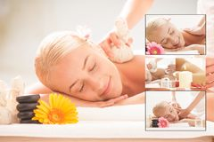 Blonde lady enjoying massages at health spa royalty free stock images