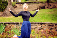 Blonde Lady Praying And Worshipping Stock Photography