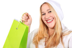Blonde lady shopper Stock Images