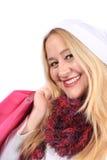 Blonde lady shopper Royalty Free Stock Photo