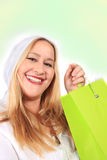 Blonde lady shopper Stock Photos