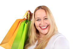 Blonde lady shopper Royalty Free Stock Photo