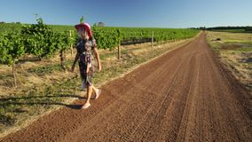 Vineyard winery lady. Blonde lady walking in Vineyard winery in Margaret River, Wilyabrup wine region in Western Australia. Popular for wine tasting tours stock footage