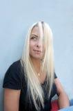 Blonde Langharige Vrouw Stock Foto's