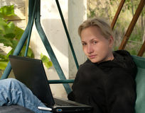 Blonde with laptop. Royalty Free Stock Photography