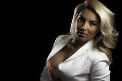 Blonde Latina Girl White Blazer Isolated Black Background Stock Images