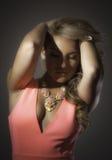 Blonde Latina Pink Dress Big Necklace Royalty Free Stock Images