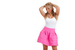 Blonde Latina Pink White Dress Necklace Isolated Stock Images