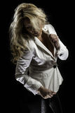 Blonde Latina White Blazer Black Leather Pants Stock Image