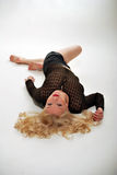 Blonde is laying down Royalty Free Stock Photos