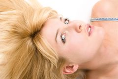 Blonde laying down Royalty Free Stock Photography