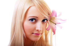 Blonde with lily Royalty Free Stock Photography