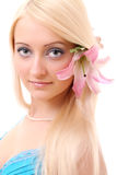 Blonde with lily Royalty Free Stock Images