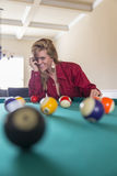 Blonde Lingerie Model On A Pool Table Royalty Free Stock Photo