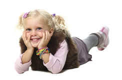 Blonde little girl layed Royalty Free Stock Images