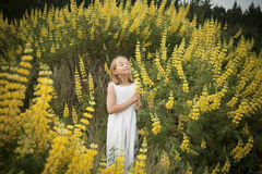 Blonde little girl smelling yellow wildflowers Stock Photo