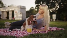 Blonde long haired woman laying on a ground in the park on a plaid litter and caress her small dog. Blurred background. Plastic cup with drink on the stock video