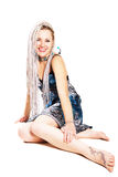 Blonde with long pigtails Stock Photos