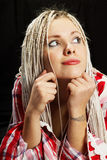Blonde with long pigtails Stock Image