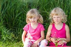 Blonde Mädchen auf Gras Lizenzfreie Stockfotografie