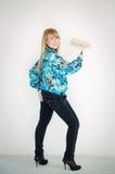Blonde Mädchenaufstellung Stockfoto