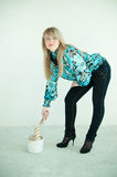 Blonde Mädchenaufstellung Lizenzfreie Stockfotografie