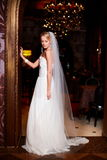 Schöne sexy Braut im weißen Hochzeitskleid Lizenzfreie Stockbilder