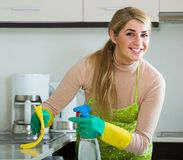 Blonde maid cleaning in domestic kitchen Stock Photography