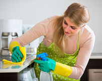 Blonde maid cleaning in kitchen Royalty Free Stock Images
