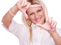 Blonde make frame with fingers Stock Photography