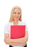 Blonde manager with red folder Stock Photos