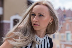 Blonde woman look. Blonde model at Manufacture Center in Kiev Stock Image