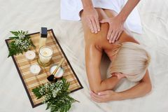 Blonde for massage Royalty Free Stock Photography
