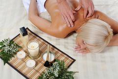 Blonde for massage Stock Photography