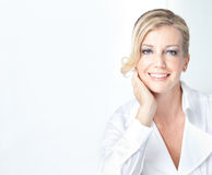 Blonde mature business woman with welcoming smile Royalty Free Stock Photography