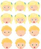 Blonde Mädchen- und Jungengefühle: Freude, Überraschung, Furcht, Traurigkeit Stockfoto